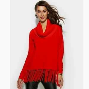 Michael Kors Red Fringe Hem Cowl Neck Sweater NWT